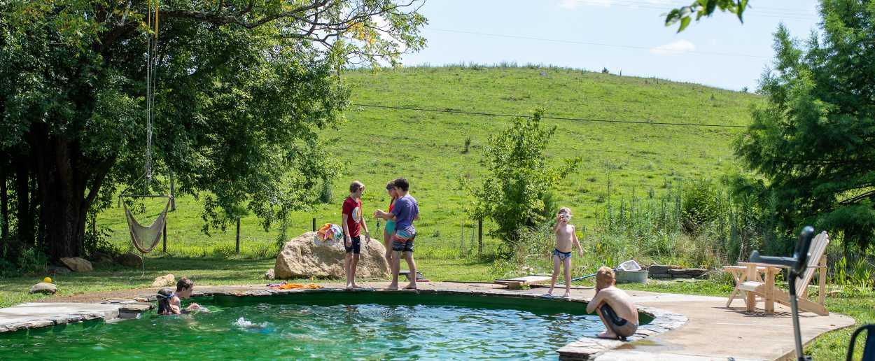 Children enjoying a natural swimming pool