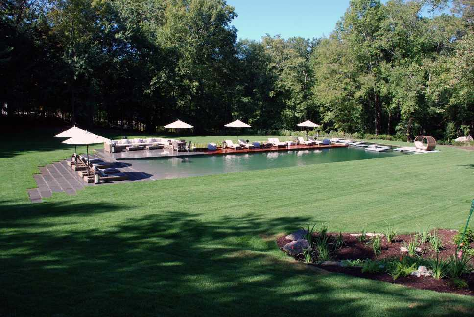A BioNova® Natural Pool installation in Newtown, CT by Freddy's Landscape Company designed by landscape architect Tara Vincenta of Artemis Landscape Architects